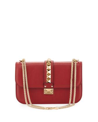 Valentino Lock Rockstud-Trim Flap Bag, Red - Bergdorf Goodman