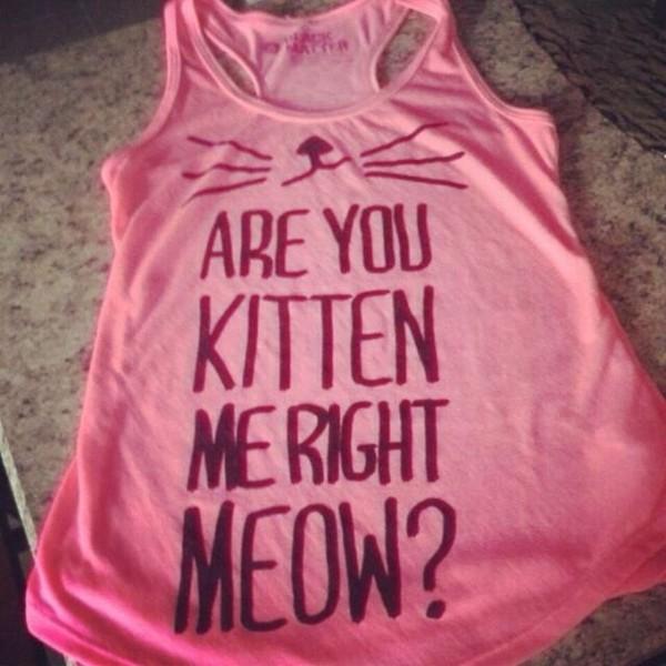 shirt pink pink by victorias secret pink tank top pink shirt t-shirt cats kitten print cats cats meow cute cute shirt