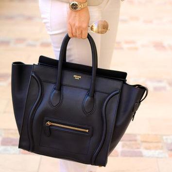 Celine Black 'Mini' Luggage Tote Bag (Medium) Handbag — Bib   Tuck on Wanelo