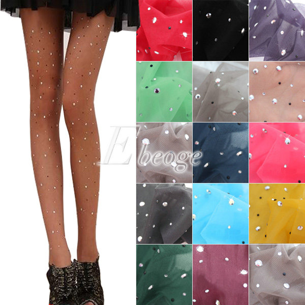 Girl Women's Candy Color Thin Bling Crystal Rhinestone Pantyhose Tights Stocking | eBay