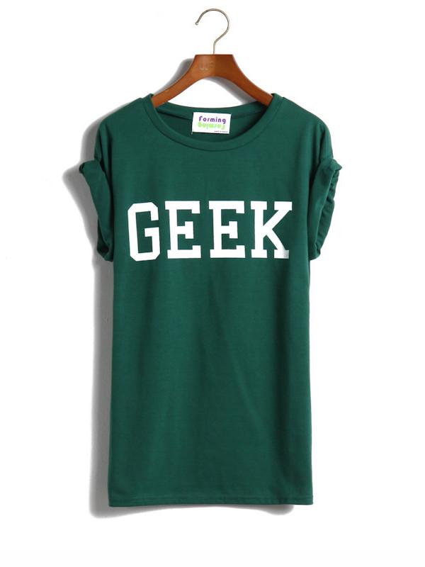 t-shirt punk green t-shirt geek cotton shirt