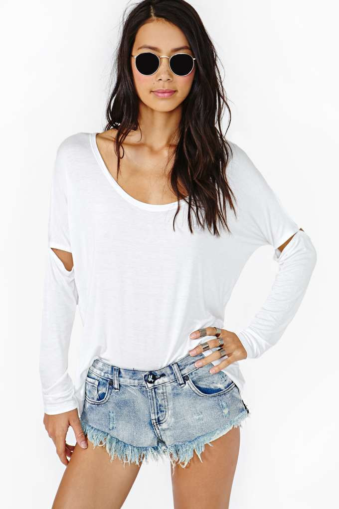 Slashed Dolman Tee - White  in  Clothes Tops at Nasty Gal
