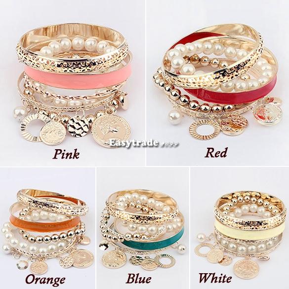 Fashion Womens Girl's Multi Layer Hand Pearl Beads Bangle Chain Bracelet Bangle | eBay