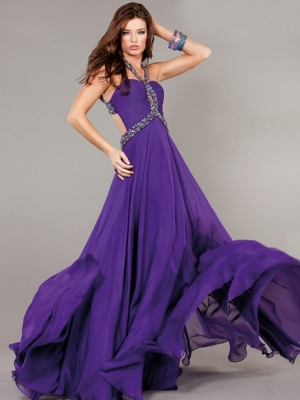 Buy Gorgeous A-line Halter Sweep Train Evening Dress under 300-SinoAnt.com