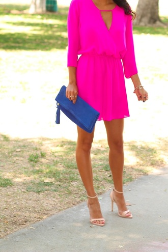 dress pink bright pretty shoes bag pink dress fluor pink strong pink neon pink keyhole short hot pink dress hot pink gorgeous summer dress hot pink dress neon tunic dress short cute dress mini dress pink dress pintrest pink dress want pinterest bright pink short dress electric blue clutch nude heels summer outfits