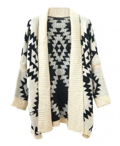 Open Front Geometric Cardigan with Long Lapel - Cardigans - Knitwear - Clothing