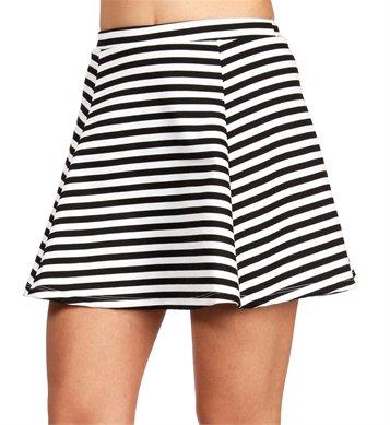 Black/White Striped Skater Skirt on Wanelo