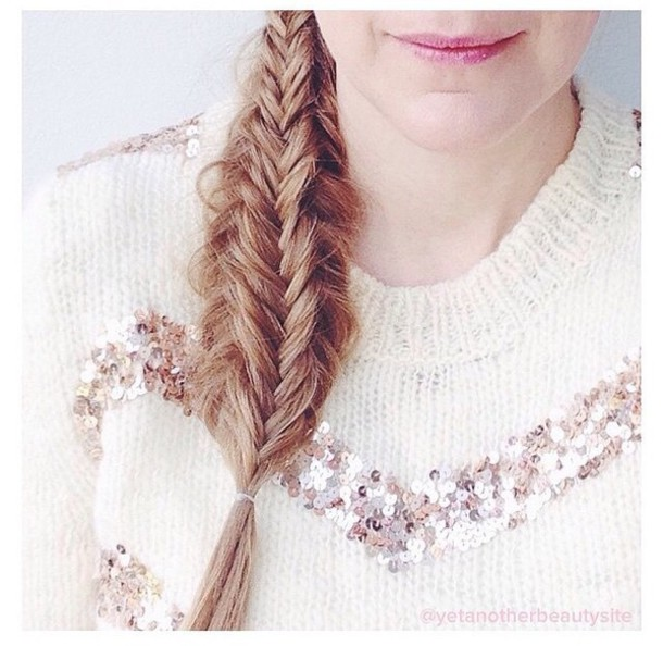 sweater white sweater sequins sequin top top winter sweater winter outfits winter out knitted sweater knitwear cute girly braid hair/makeup inspo