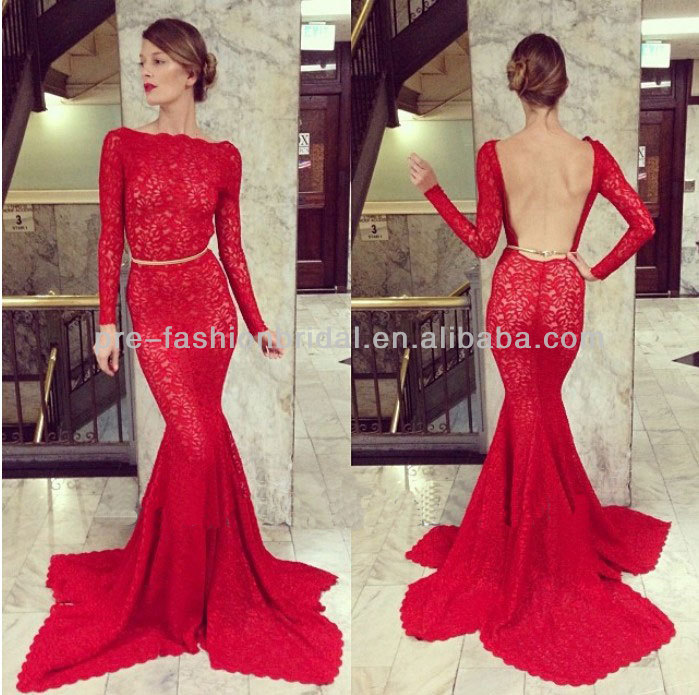 Alibaba.com - Wholesale Free Shipping New Arrival 2014 Fashion Design Backless Mermaid Scoop Embroidered Red Long Sleeve Lace Evening Dress 2014