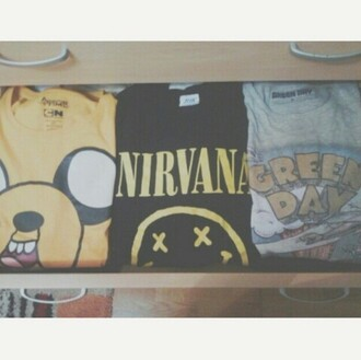 sweater jake adventure time movie series tv yellow dog finn4 finn the human the dog nirvana music group band green day t-shirt sweat rock indie grunge hipster alternative classy young youth childhood nice cool
