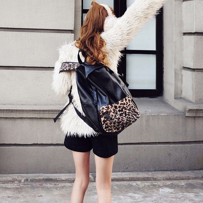 640286 Trendy Women's PU Leather Print Leopard Stud Book School Backpack Bag | eBay
