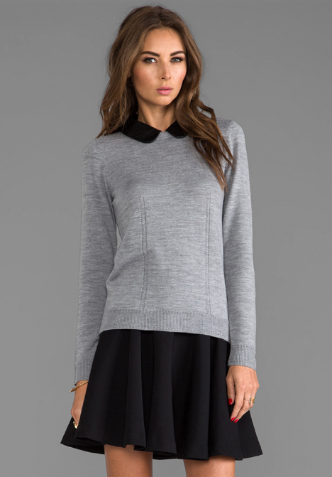 Milly Knit Leather Collar Sweater in Charcoal - Sale