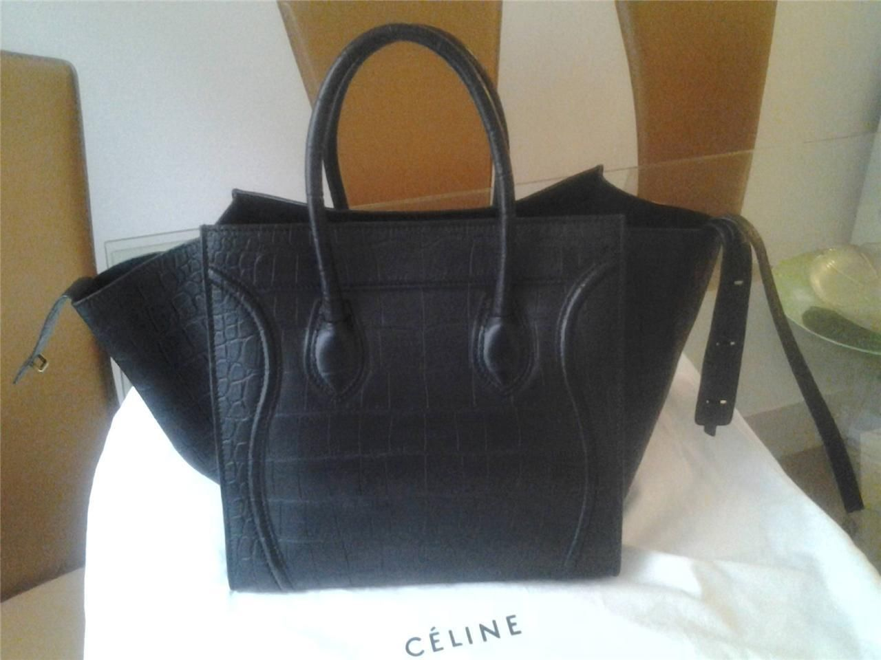 NEW CELINE CROC EMBOSSED PHANTOM BLACK LEATHER TOTE BAG LUGGAGE - Handbags & Purses