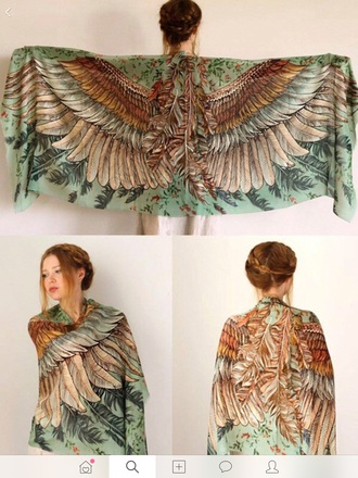 cardigan birds shirt fall colors fall outfits scarf feathers birds
