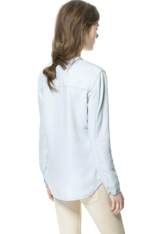 Light Blue Long Sleeve Band Collar Denim Shirt - Sheinside.com