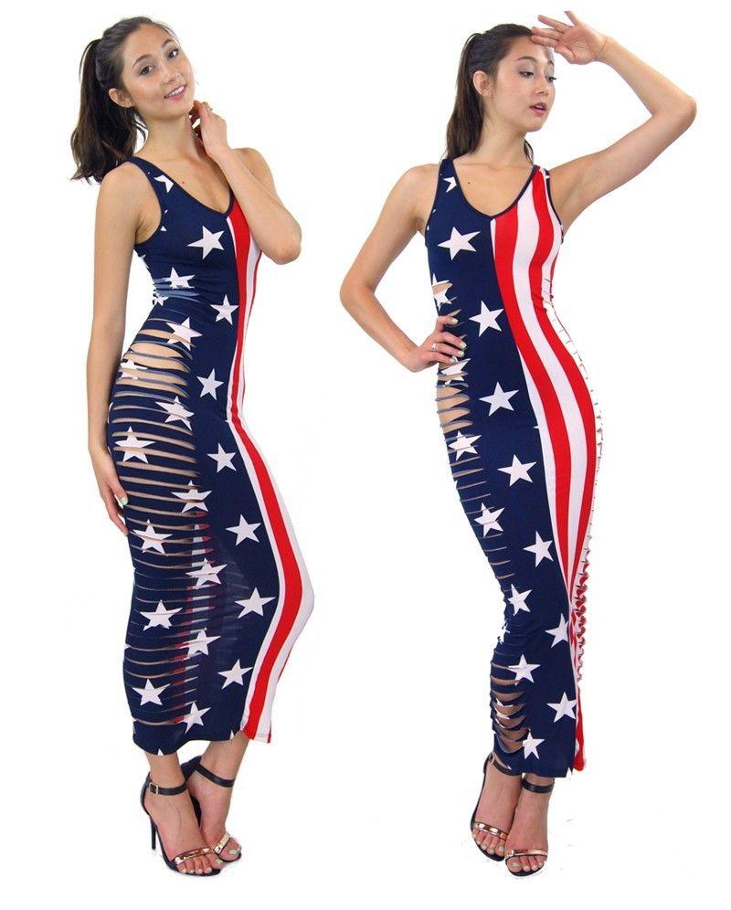 Popular Slashed Destroyed Side Cutted Patriot American Flag Printed Maxi Dress | eBay