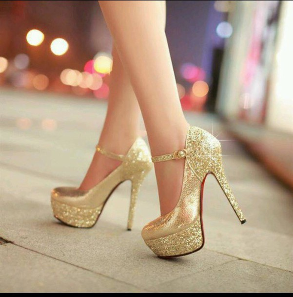 shoes gold gold sequins heels