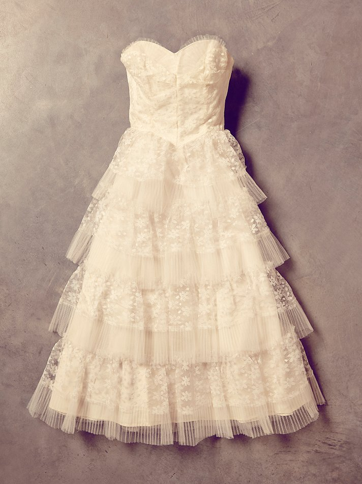 free people womens vintage white lace and tulle dress