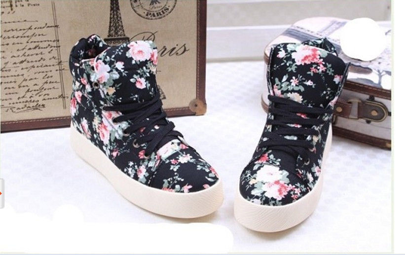 New Women Fashion Floral Lace Up Ankle Boots Preppy Girl's Flats Sneakers Shoes | eBay
