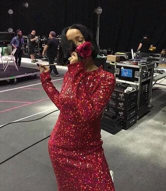 dress grammys 2016 rihanna red dress sequins