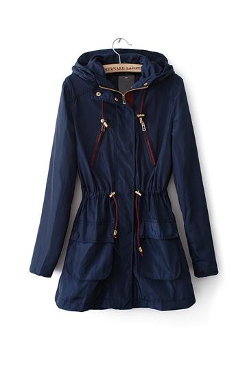 Pure Color Slim Ladies Parka Coat [FEBK0338]- US$49.99 - PersunMall.com