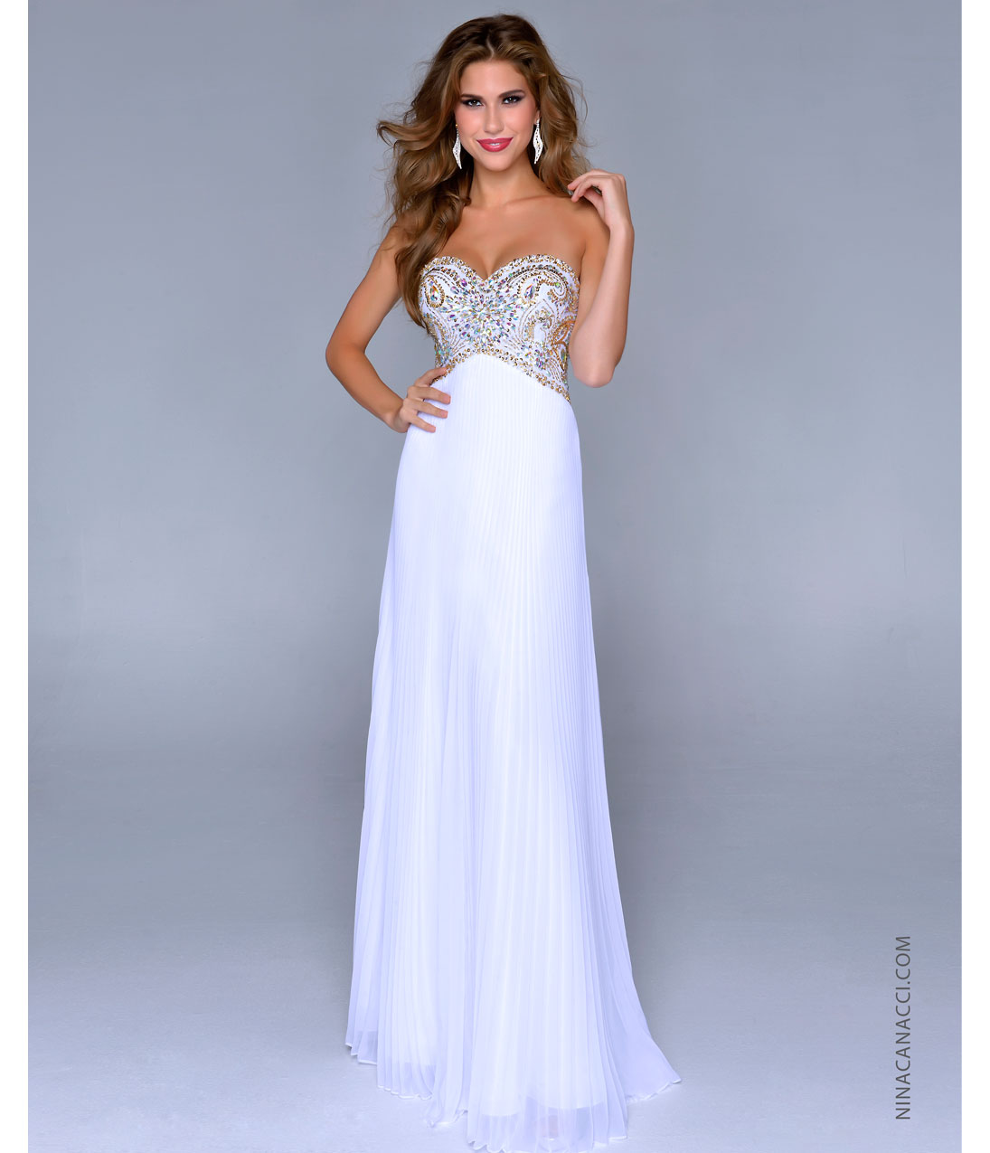 Nina Canacci 2014 Prom Dresses - White Gold Pleated Chiffon & Beaded Sweetheart Prom Gown - Unique Vintage - Prom dresses, retro dresses, retro swimsuits.
