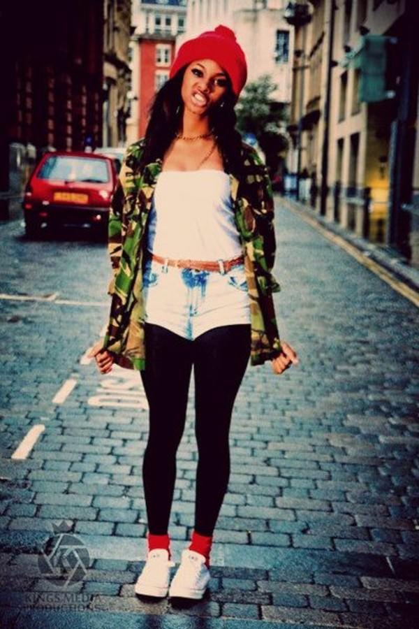 jacket shoes shorts belt top necklace beanie camo jacket leggings