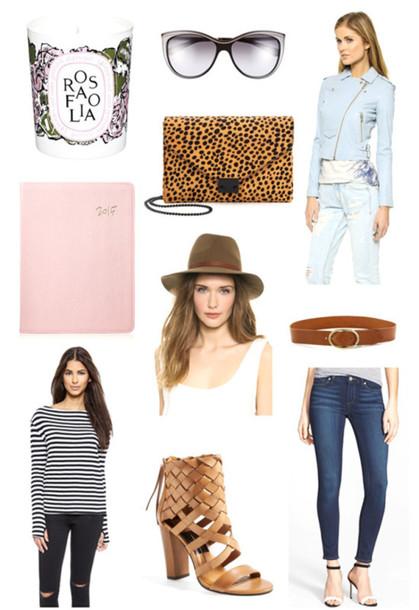 angel food blogger belt candle animal print notebook top jeans shoes jacket hat bag sunglasses animal print bag
