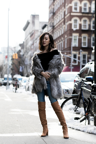 the chriselle factor blogger shoes coat top jeans winter outfits brown boots boots fur coat