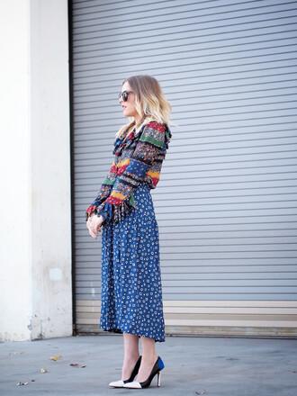 b. jones style blogger blouse stilettos folk pattern skirt shoes sunglasses