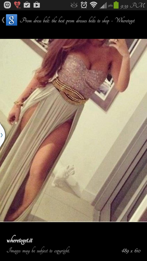 dress belt maxi skirt bustier bandeau gold sequins slit