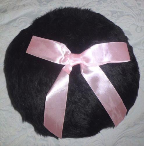 HANDMADE BLACK FAUX FUR ROUND PILLOW CUSHION COVER CASE PINK RIBBON SHABBY CHIC | eBay