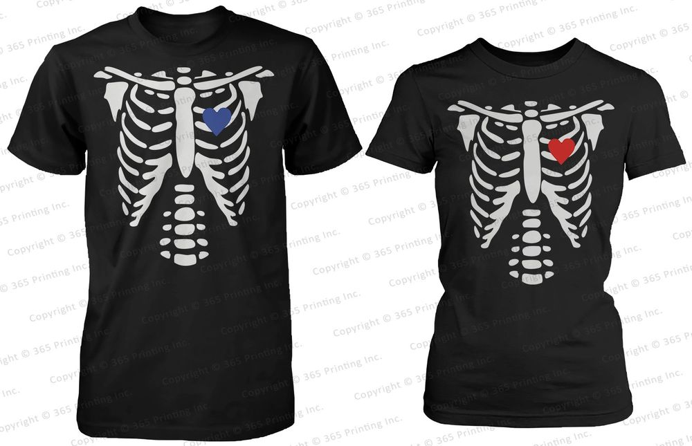 His and Her Matching Shirts x Ray Skeleton Couple Shirts for Halloween | eBay