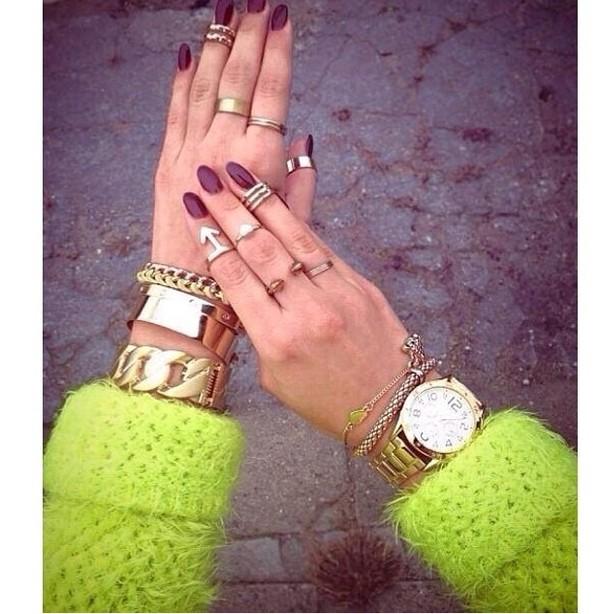 jewels yellow ring fashion girly gold watch