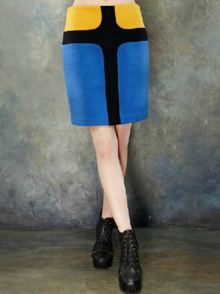 ELF SACK Cross Printed Skirt In Contrast Color   Choies