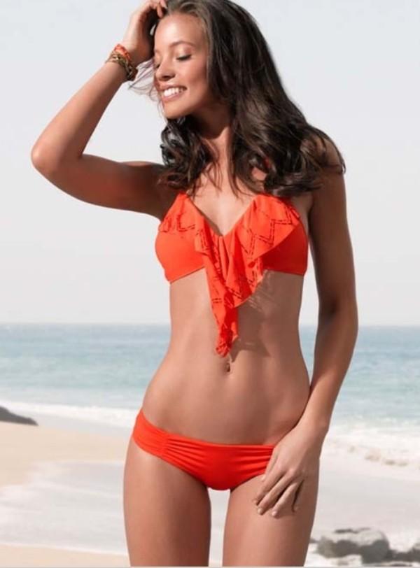 swimwear flutter orange