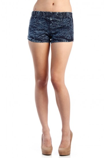 LoveMelrose.com From Harry & Molly | LOW RISE ACID WASH SHORT-SHORTS -BLUE - SHORTS - BOTTOMS