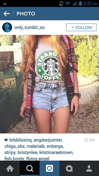 shorts denim tank top starbucks coffee hipster boho instagram
