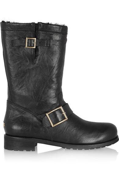 Jimmy Choo|Rabbit-lined leather biker boots|NET-A-PORTER.COM