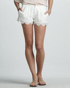 Haute Hippie Pleated Lace Shorts - Neiman Marcus