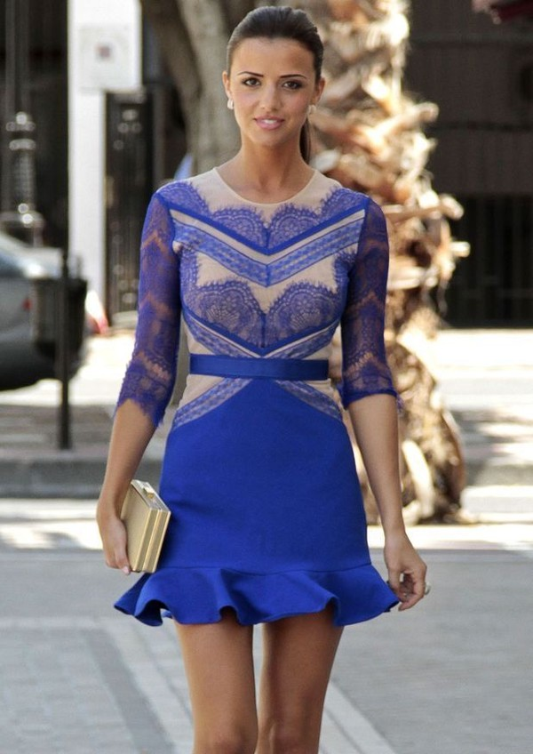 dress cobalt blue nude bottom frill lace dress three floor colbat blue nude