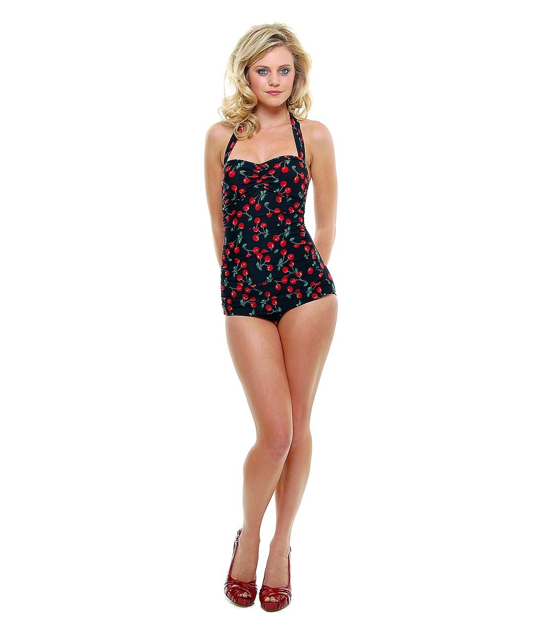 BEST SELLER! Vintage Inspired 1950s Black Cherry Print Swimsuit