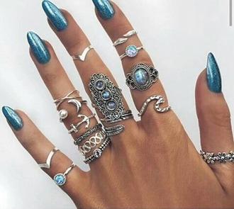 jewels turquoise rings nails blue moon ring turquoise waves silver silver ring boho boho jewelry stacked ring jewelry knuckle ring rings and tings bohemian summer gemstone flowers