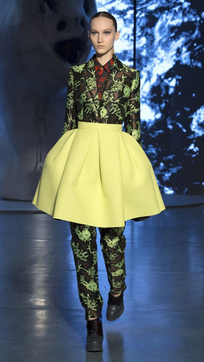 » New Kenzo fall winter 2014 2015 collection: woman clothing with yellow skirt