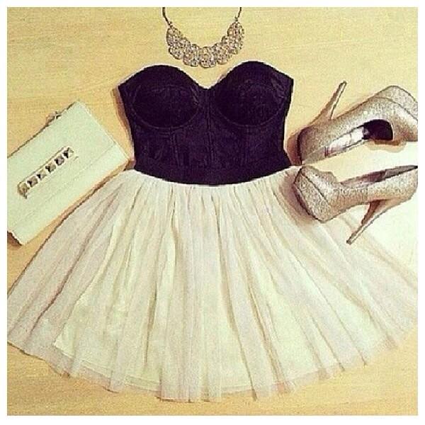 dress black white skirt shoes