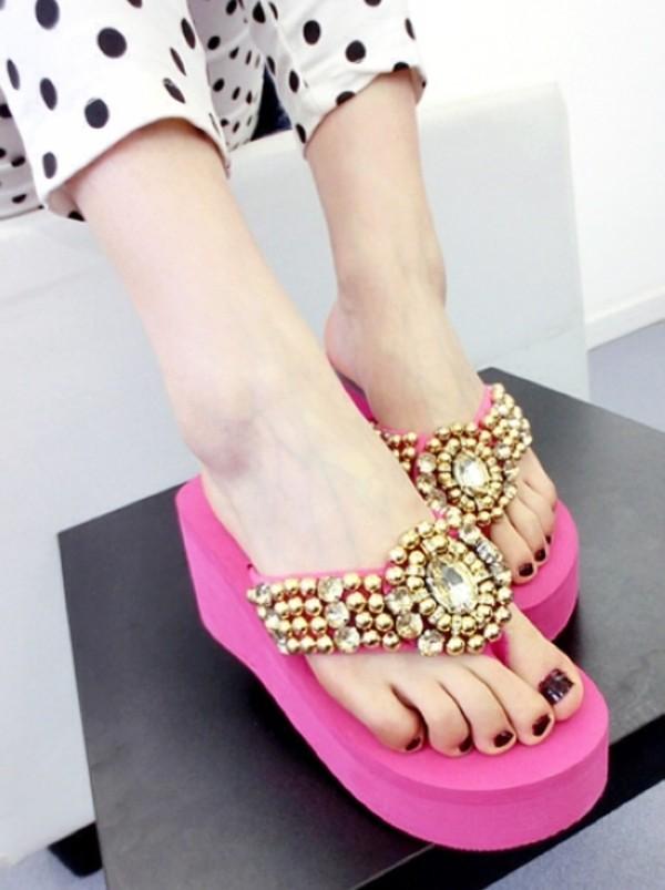 shoes pink sandals platform shoes platform sandals summer summer shoes gems polka dots gold