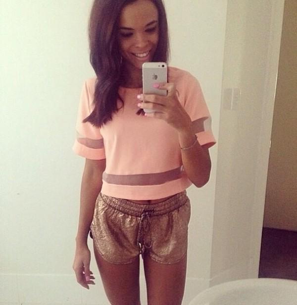 shirt sparkle pink light pink mesh stripes pink shirt mesh shirt crop tops style shorts