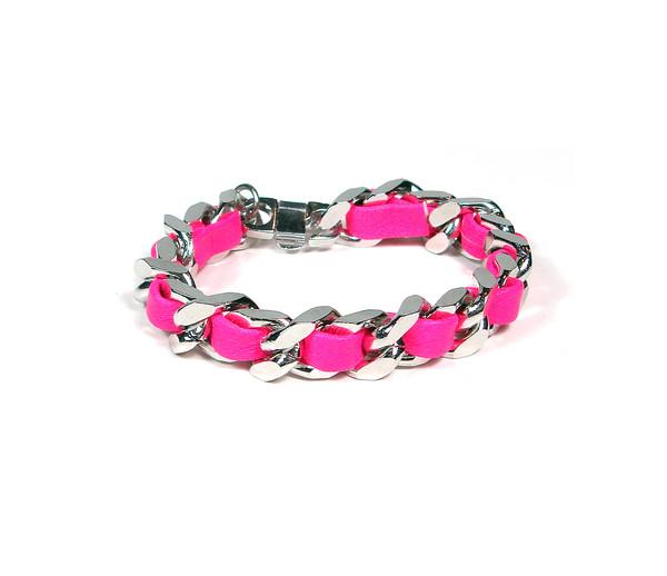 jewels neon pink bracelet silver chain bracelet chain bracelet woven leather wristlet neon pink
