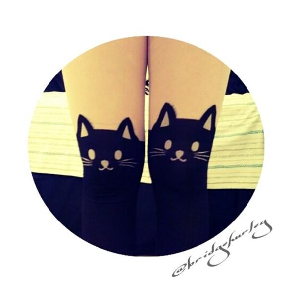 underwear socks cats cats leggings black
