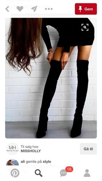 shoes boots black booties overknee high boots thigh boots thigh highs overknee boots leather suede heels high tall stilettos thigh-high boots